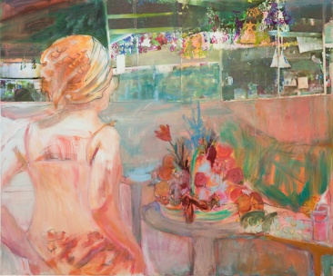 Odotus, 2016, öljy, pigmentinsiirto, 100 x 120 cm