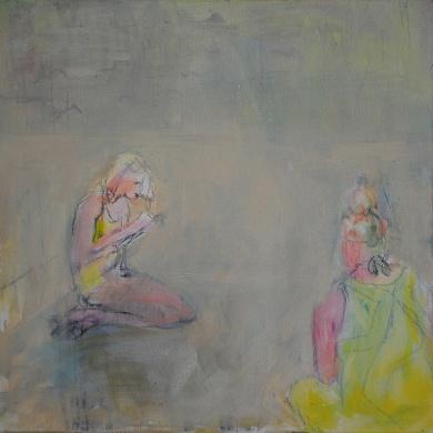 Joutilaat, 2017, öljy, 50 x 50 cm