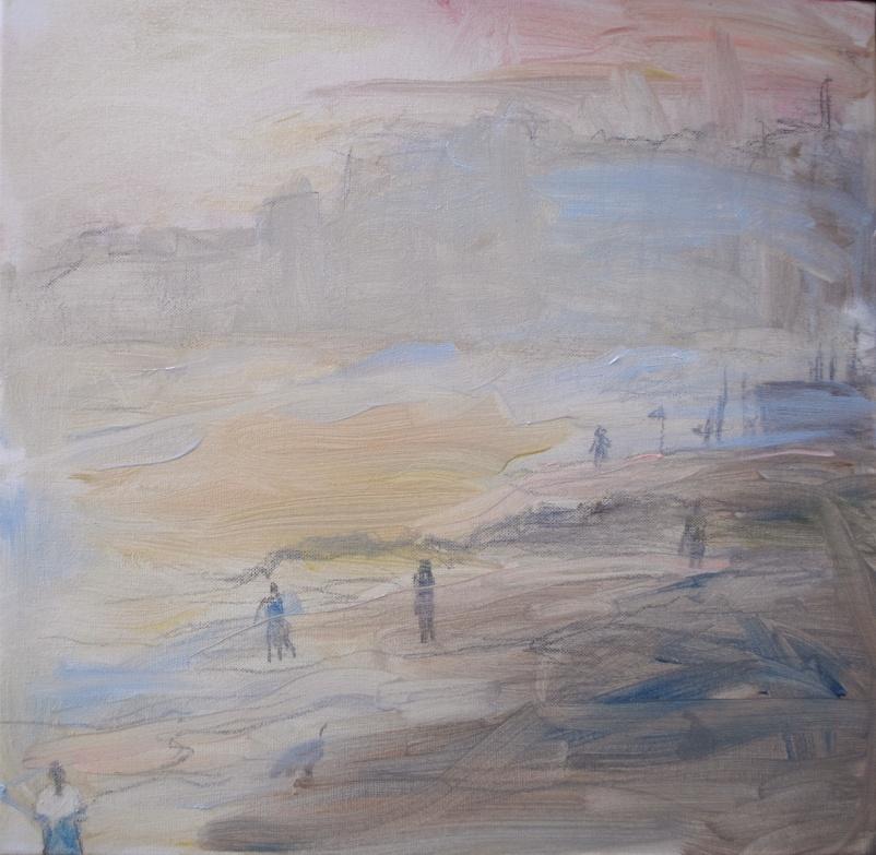 Laskuvesi, 2017, öljy, 50 x 50 cm