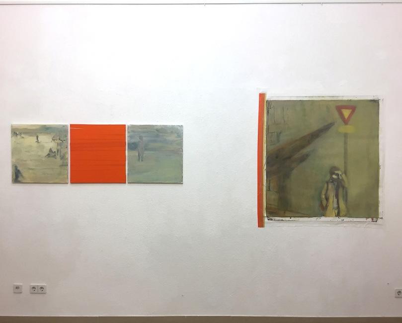 Vasemmalla Siirtymiä lomalla, 2018, 50 x 150 cm, oikealla Keski-Eurooppa, 2028, 100 x 100 cm