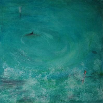Hai vai delfiini, 2019, öljy kankaalle, 80 x 80 cm, yksityiskokoelma