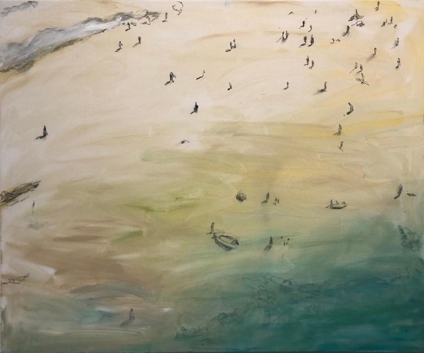 La Mer, 2019, öljy ja hiili kankaalle, 100 x 120 cm