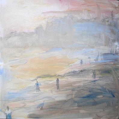 Laskuvesi, 2017, öljy kankaalle, 80 x 80 cm