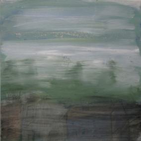 Train Window View, 2020, ljy kankaalle, 50 x 50 cm